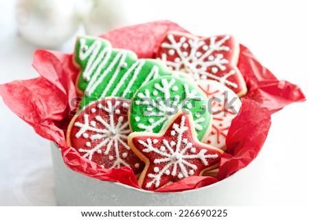 Gift box of Christmas cookies - stock photo