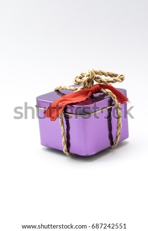 gift box on a white background. Using wallpaper or background for package and product work image.