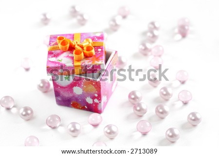 Gift box on bright background