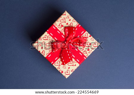 gift box on gray background - stock photo