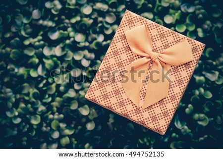gift box on green grass background with vintage color style