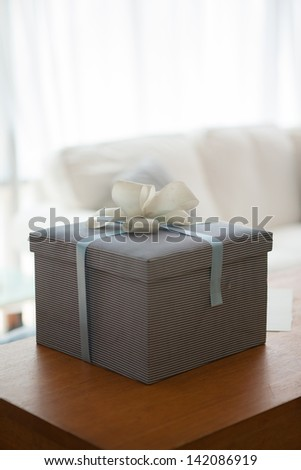 gift box on the table - stock photo