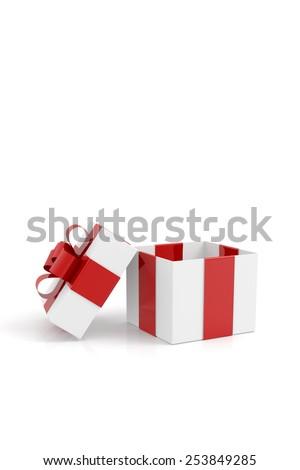Gift box on white - stock photo