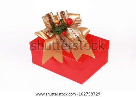 gift box over white background. - stock photo