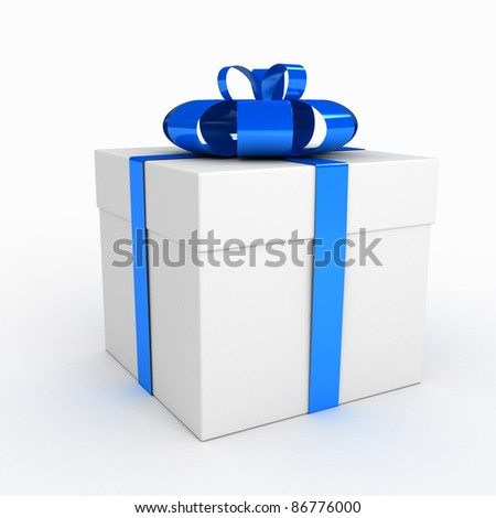 Gift box over white background. computer generated image - stock photo