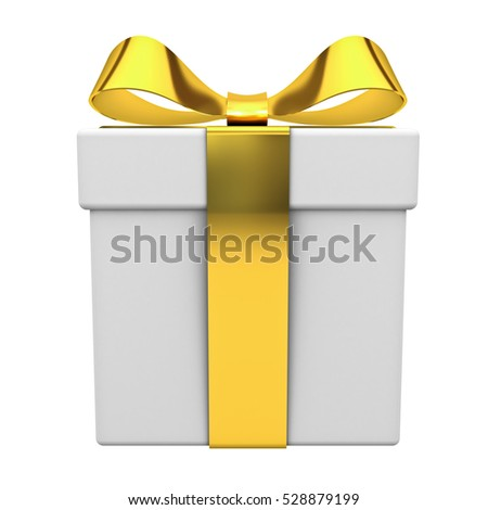 Gift box present with gold ribbon bow isolated on white background. 3D rendering.