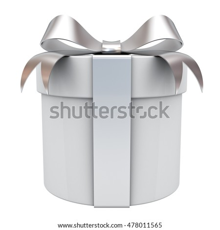 Gift box present with silver ribbon bow isolated on white background. 3D rendering.