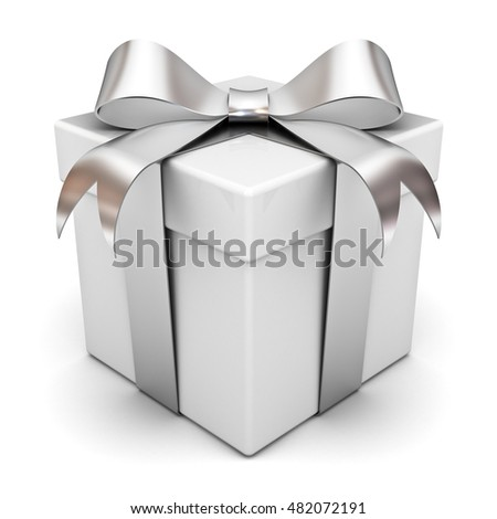 Gift box present with silver ribbon bow isolated on white background with shadow. 3D rendering.