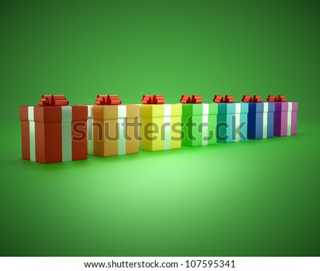 gift box rainbow on a green background - stock photo