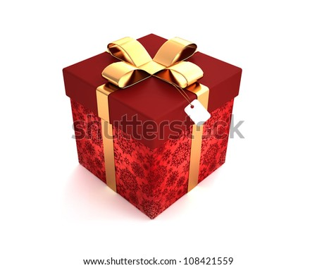 Gift box red isolated on white background