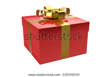gift box red with ribbon gold, isolated on white background - stock photo