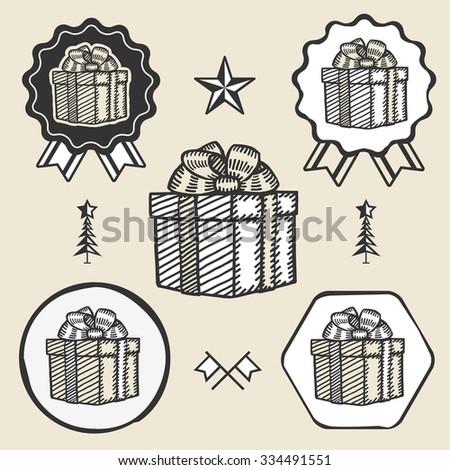 Gift box ribbon bow symbol emblem label collection set - stock photo