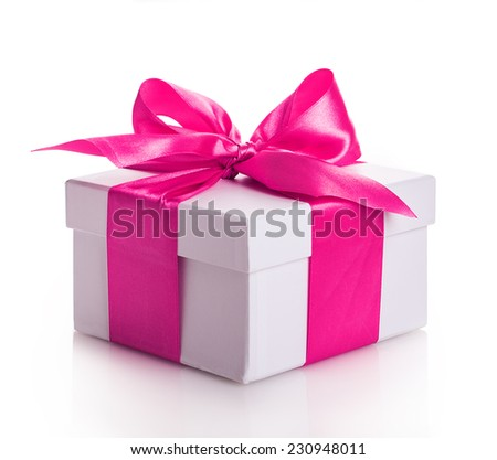 gift box ribbon red Isolated on white background - stock photo