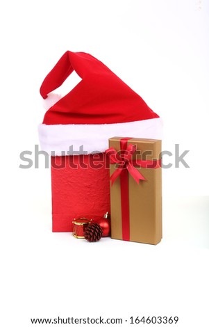 Gift box set and Red bag - stock photo