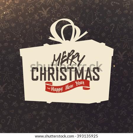 Gift box silhouette on hand drawn Christmas background. Retro Merry Christmas Card Design. Raster version. - stock photo