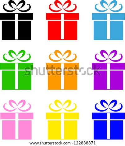 Gift box symbol set different colors