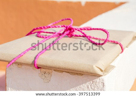 Gift Box,Tied with pink string.(select focus)