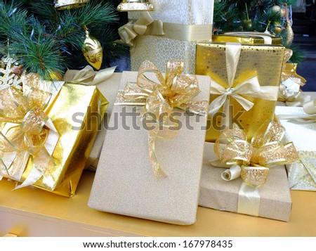 Gift box under christmas tree  - stock photo