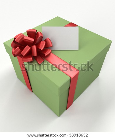 Gift box with a blank card on white background. 3d illustration