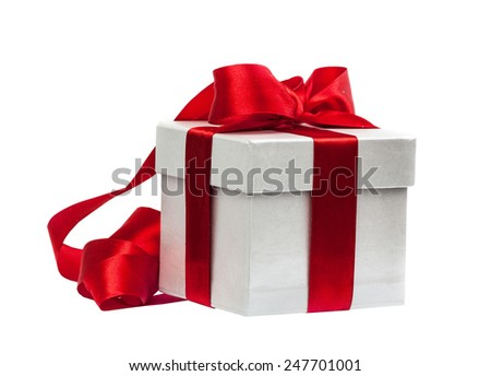 Gift box with a red bow isolated on the white