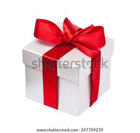 Gift box with a red bow isolated on the white - stock photo