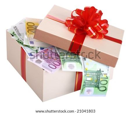 Gift box with banknote of euro. - stock photo