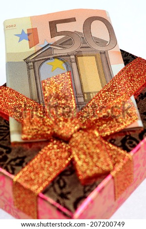 Gift box with  banknotes  - stock photo