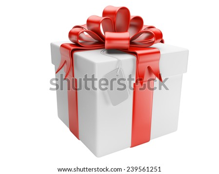 Gift box with blank isolated on a white background