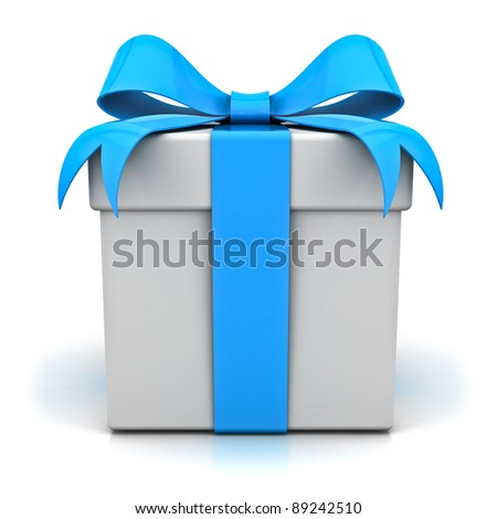 Gift box with blue ribbon bow on white background - stock photo