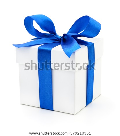 Gift box with blue ribbon on white. - stock photo