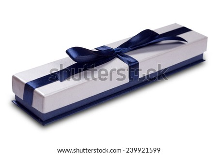 gift box with blue satin ribbon bow, isolated on white - stock photo