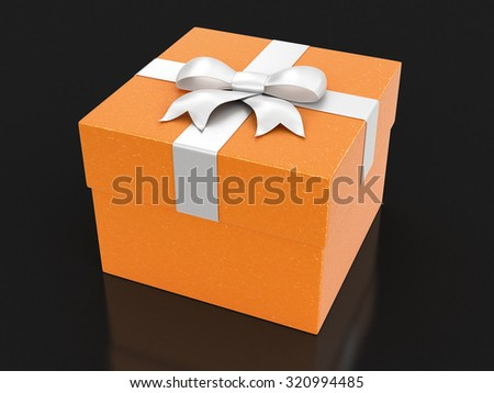 Gift box with bow (clipping path included) - stock photo