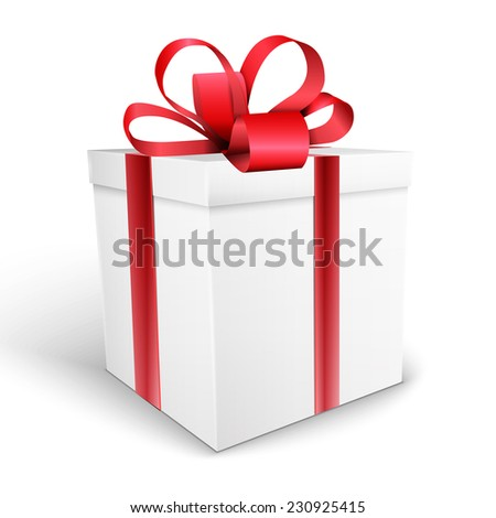 gift box with bow   illustration isolated on white background