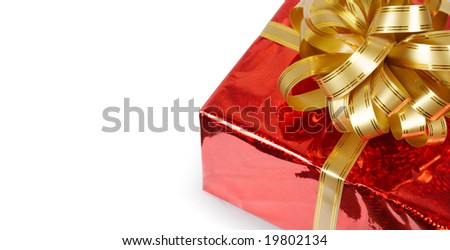 Gift box with bow isolated on white with copy space - stock photo