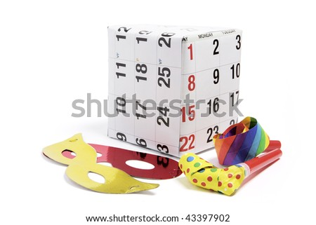 Gift Box with Calendar Page and Party Favors on White Background - stock photo