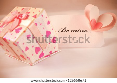 Gift box with card for valentines day. - stock photo