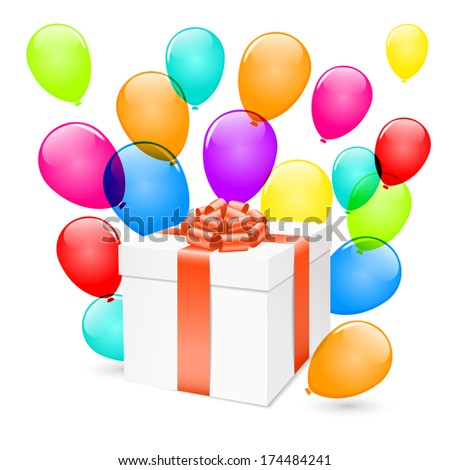 Gift box with colorful balloons isolated on white. Raster version. - stock photo