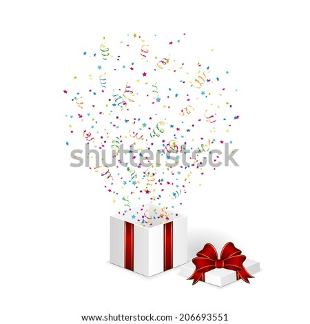 Gift box with confetti and tinsel isolated on white background, illustration.
