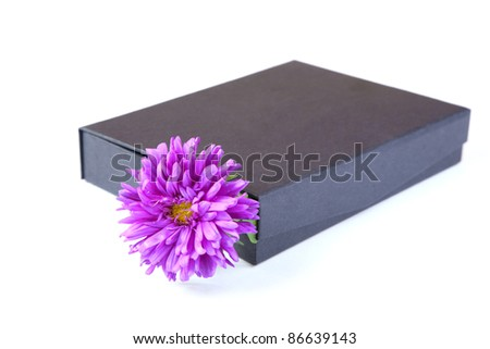 gift box with  flower isolated on a white background