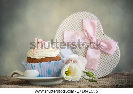 Gift box with flowers - stock photo