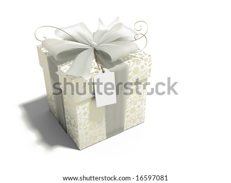 gift box with gold print - stock photo