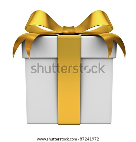 Gift box with gold ribbon bow isolated on white background - stock photo