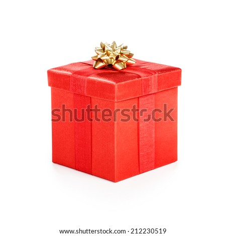 Gift box with gold ribbon. Christmas theme. Object isolated on white background. Clipping path. - stock photo