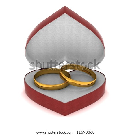 Gift box with gold rings in the form of heart. 3D image. - stock photo