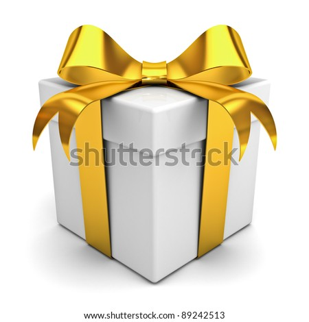 Gift box with golden ribbon bow on white background - stock photo