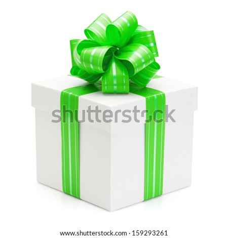 Gift box with green ribbon and bow, isolated on the white background, clipping path included. - stock photo