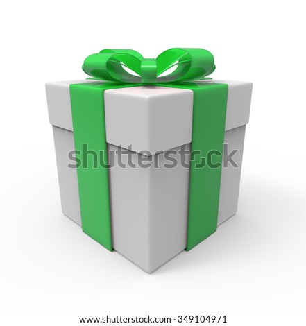 Gift box with green ribbon. isolated on the white background with path.