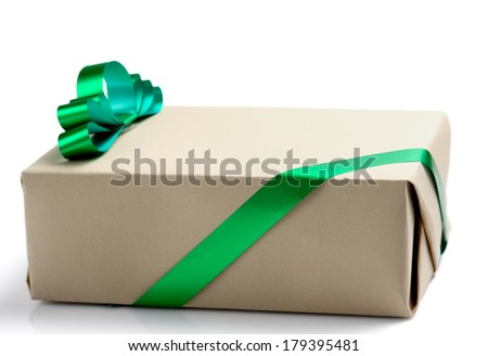gift box with green tape, isolated on white background - stock photo