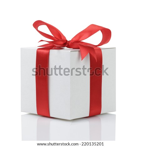 gift box with handmade red ribbon bow, isolated on white