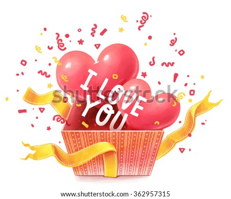 Gift box with hearts. Valentine's Day. Love - stock photo